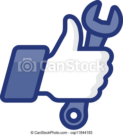 Thumb Up icon with wrench, vector Eps8 image - csp11844183