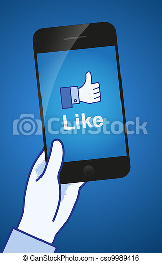 Thumb Up. Like concept. A hand holding a mobile phone. - csp9989416