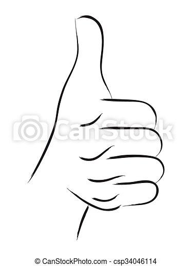 Thumb Up Line Art - csp34046114
