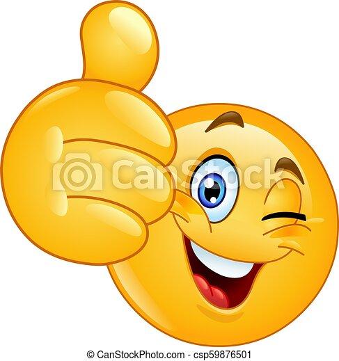Thumb up winking emoticon - csp59876501