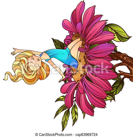 Thumbelina, fairy tale character sitting on the flower. Vector illustration.