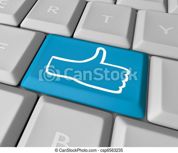 thumb's, aimer, haut, clef informatique, clavier, icône - csp6563235