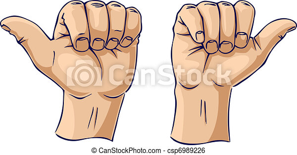 Thumbs pointing away from each othe - csp6989226