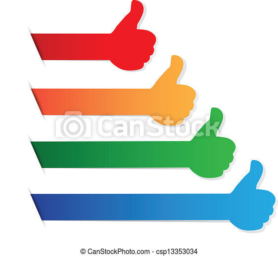 Thumbs up color blank tag - csp13353034