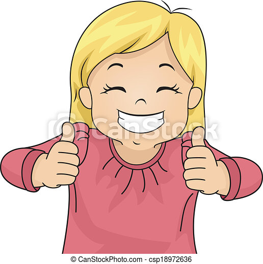 illustration of a little girl giving two thumbs up vectors search rh canstockphoto ie Two Thumbs Up Art Two Thumbs Up Art