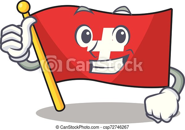 Thumbs up flag switzerland isolated in the character - csp72746267