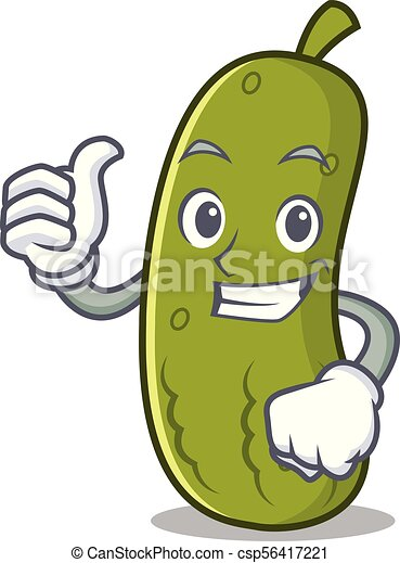 Thumbs up pickle character cartoon style - csp56417221