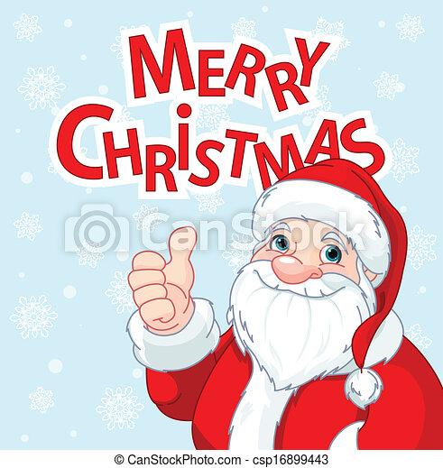 Thumbs Up Santa Claus greeting car - csp16899443