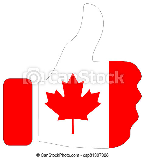 Thumbs up sign with flag of Canada - csp81307328