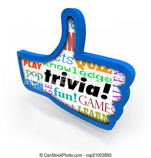 Thumbs Up Trivia Game Winner Feedback Share Social Network - csp21003893