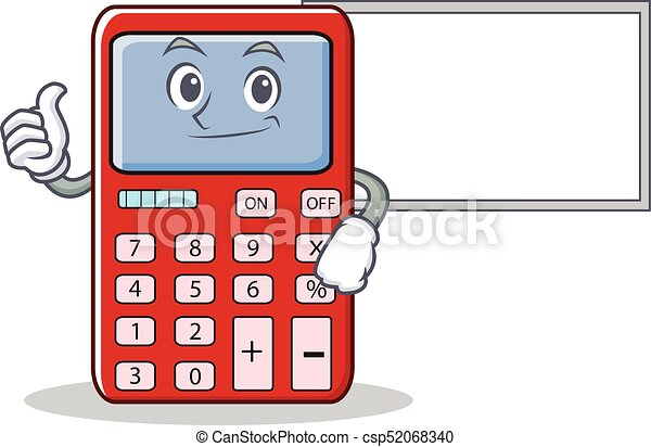 thumbs up with board cute calculator character cartoon vector