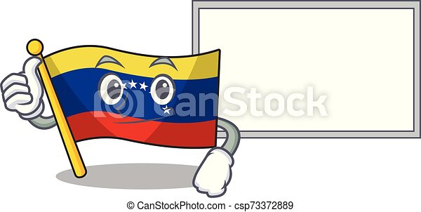 Thumbs up with board flag venezuela with the cartoon shape - csp73372889