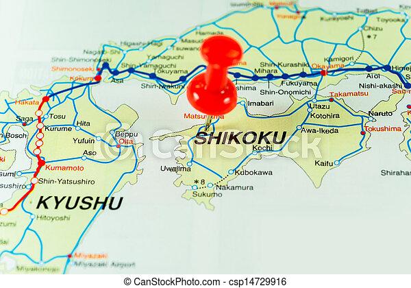 Thumbtack on the Japan map - csp14729916
