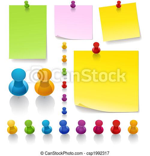 Thumbtacks and notes - csp1992317
