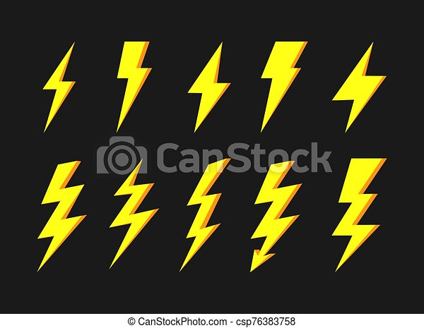 Thunder And Bolt Lighting Elements Flash Icons Set Elestric Blitz Vector Thunderbolt On White Background Thunder And Bolt