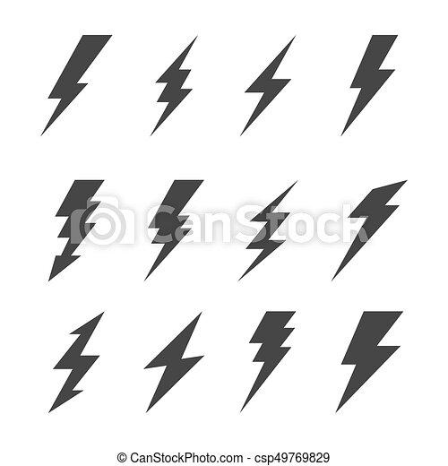 icon lighting. Plain Lighting Thunder And Bolt Lighting Flash Icons Set Vector To Icon
