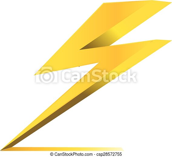 thunder electric charge symbol icon vector - csp28572755