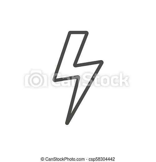 Thunder Icon Vector Line Lightning Bolt Symbol Thunder Icon Vector