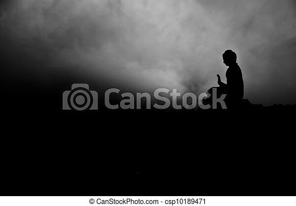 tian, silhouette, bronzage, bouddha - csp10189471