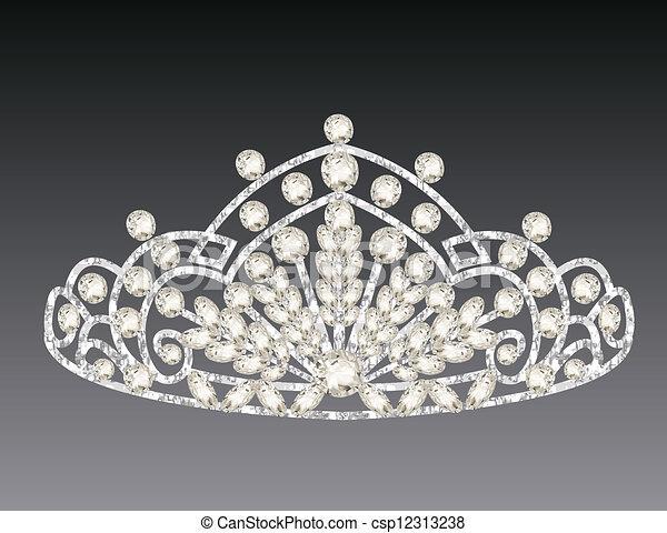 tiara crown women's wedding on a grey background - csp12313238