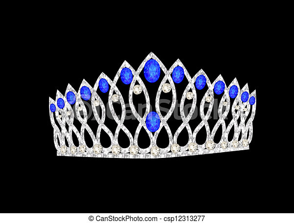 tiara crown women's wedding on the black - csp12313277