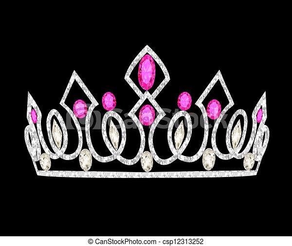 tiara crown women's wedding with pink stones - csp12313252
