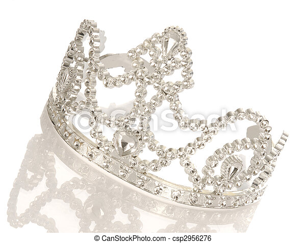 tiara or crown with reflection isolated on white background - csp2956276