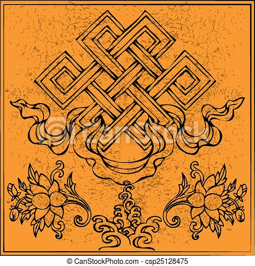 Cultural Symbol Of Buddhism Endless Knot Vector Buddhist Religious