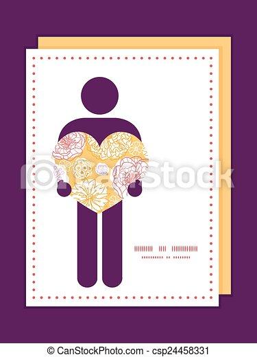 Floreciente Día Vector Flores Hombre En El Amor Silueta