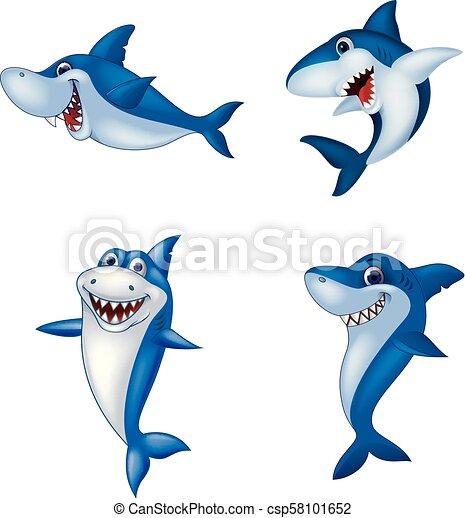 Coleccion de tiburones de dibujos animados - csp58101652