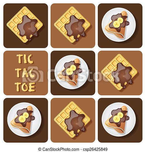 Tic-Tac-Toe of crepe and waffle - csp26425849