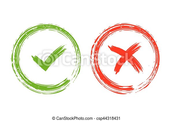 Tick And Cross Signs Grunge Tick And Cross Signs Green Checkmark