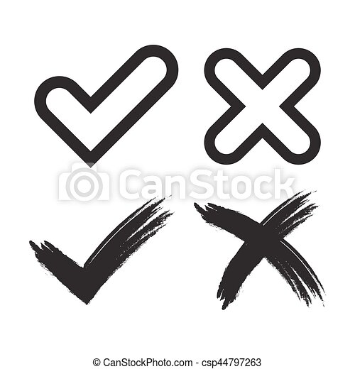 Tick Cross Mark Signs Tick And Cross Grunge And Simple Signs Black