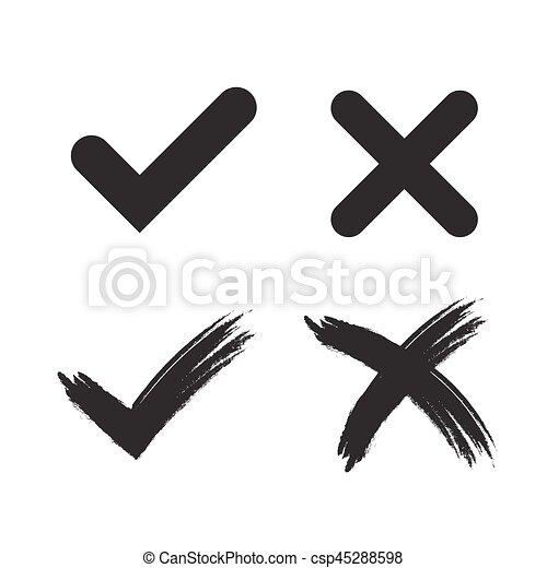 Black Tick Symbol Paint No Background