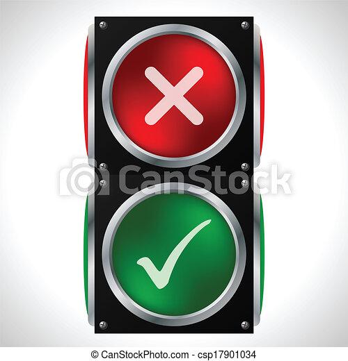 Tick Cross Symbols On Traffic Light Tick And Cross Symbols On