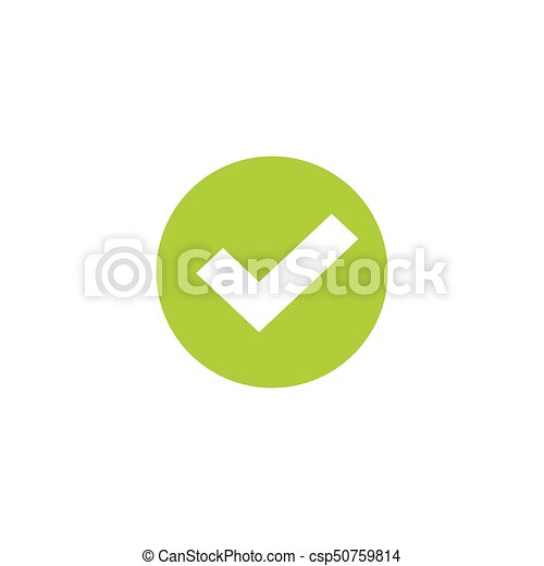 Tick icon in green circle vector symbol, green round checkmark isolated on white, checked icon or correct choice sign, check mark or checkbox pictogram - csp50759814