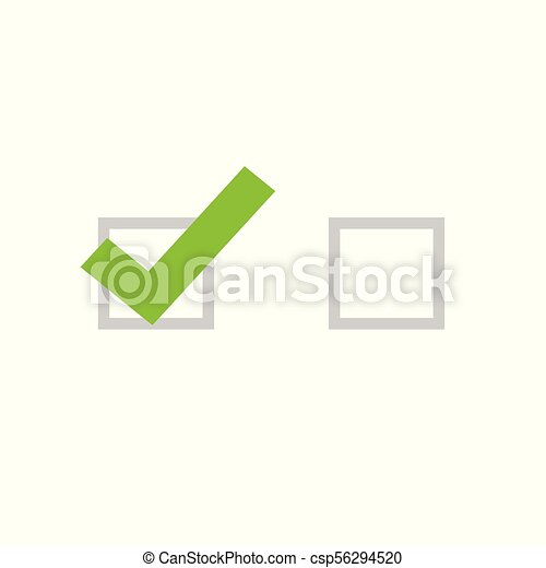 Tick icon vector symbol, flat cartoon green checkmark isolated on white background, checked and empty icon or correct choice sign, square check box mark or checkbox pictogram clipart - csp56294520