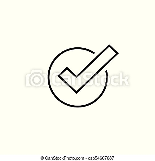 Tick Icon Vector Symbol Line Art Outline Checkmark Isolated