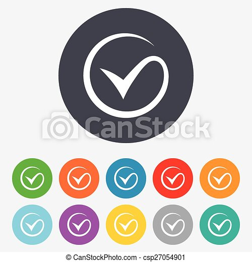 Tick Sign Icon Check Mark Symbol Round Colourful 11 Buttons Vector