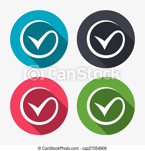 Tick Sign Icon Check Mark Symbol Circle Buttons With Long Shadow