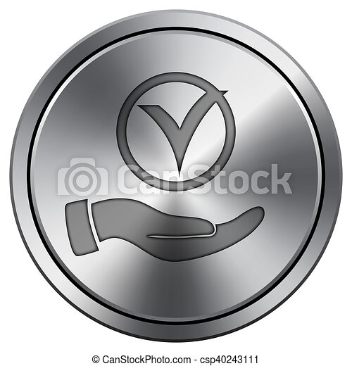Tick with hand icon. Round icon imitating metal. - csp40243111