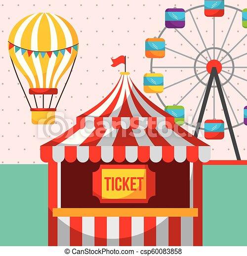 Ticket Booth Ferris Wheel Carnival Fun Fair Festival Vector Illustration