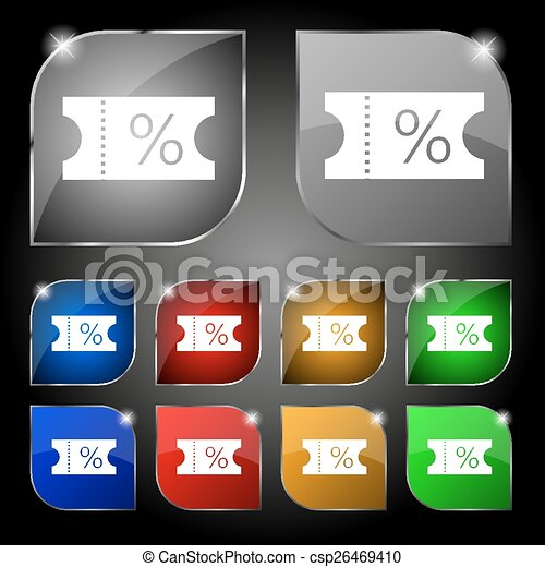 ticket discount icon sign. Set of ten colorful buttons with glare. Vector - csp26469410