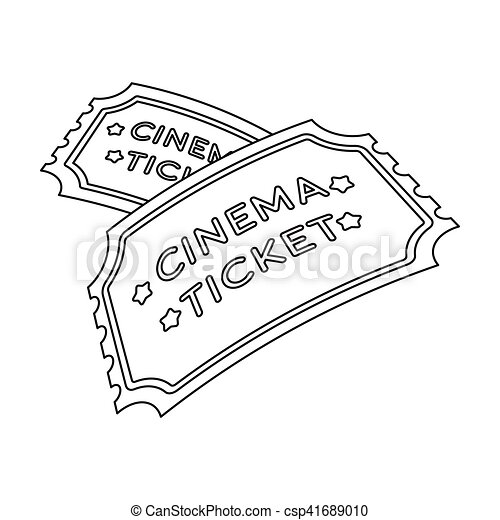 Ticket Icon In Outline Style Isolated On White Background Films And