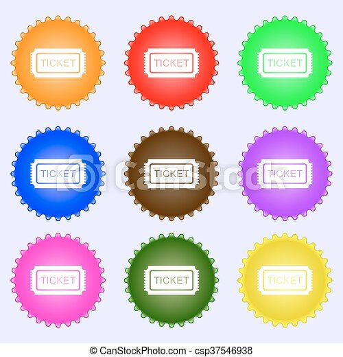 Ticket icon sign. Big set of colorful, diverse, high-quality buttons. Vector - csp37546938