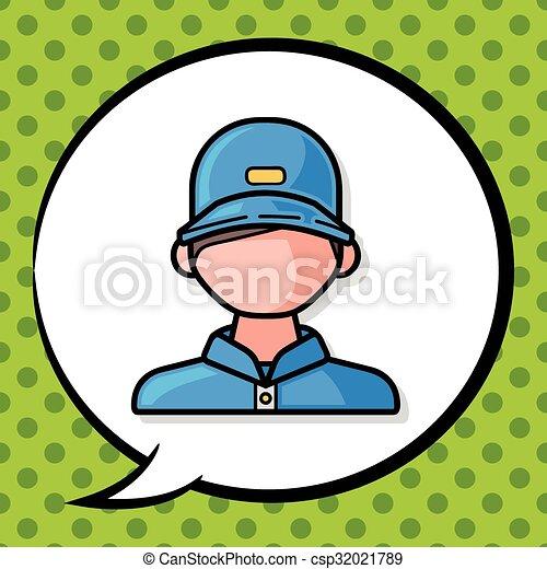 Ticket seller doodle - csp32021789