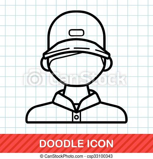Ticket seller doodle - csp33100343