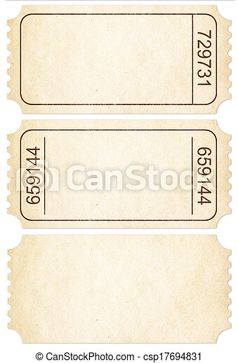 Ticket set. Paper ticket stubs isolated on white included. - csp17694831