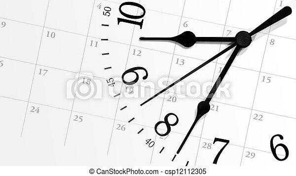 Ticking Time Clock with Calendar - csp12112305