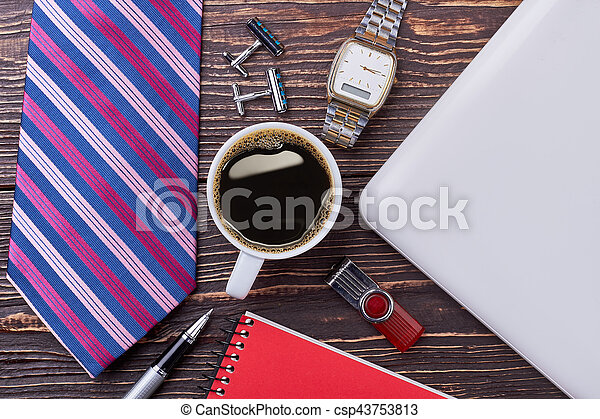 Tie, coffee and watch. - csp43753813